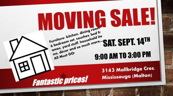 Moving sale - saturday september 14, 2019 9-3pm